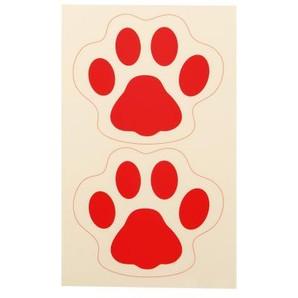 足型誘導ステッカー 犬型・レッド