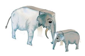 ペーパークラフト ゾウさんの親子