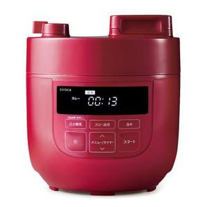 siroca電気圧力鍋2L1台(レッド)